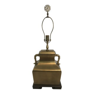 Vintage Wildwood Frederick Cooper Asian Chinoiserie Brass Bamboo Lamp With Finial For Sale