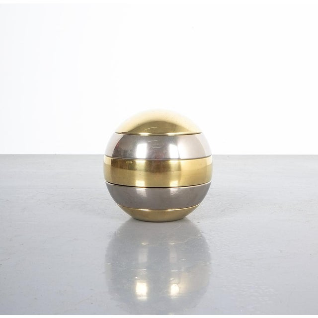 Tommaso Barbi Stacked Brass and Chrome Bowls For Sale - Image 6 of 6