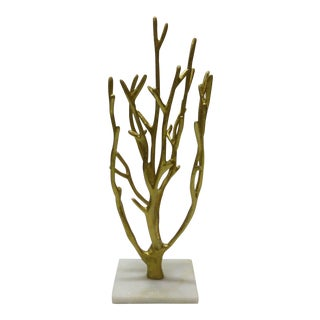 Faux Gold Finger Coral Branch Mounted on White Quartz Marble For Sale