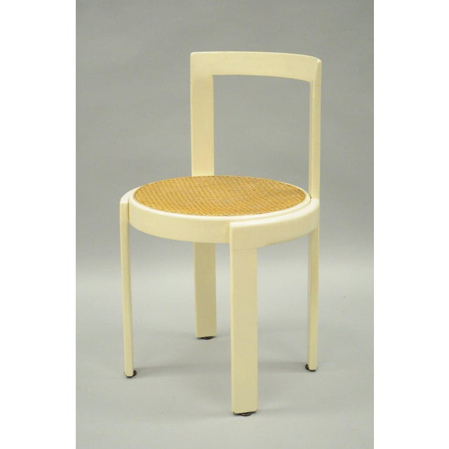 Vintage Thonet Style Italian Mid-Century Modern Round White Cane Seat Side Chair - Image 10 of 10
