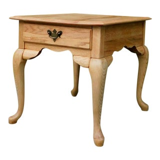 Rustic White Oak Side Table For Sale