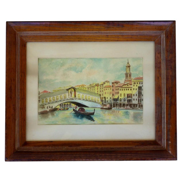 Venice Canal W/ Gondola Watercolor Painting, 1930s For Sale