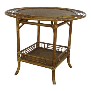 1990s Safari McGuire Glass Topped Bamboo / Rattan Accent Table For Sale