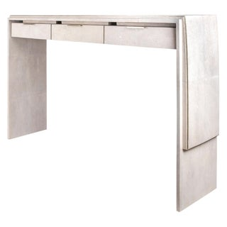 Waldorf Console in Cream Shagreen and Bronze-Patina Brass by R&y Augousti For Sale