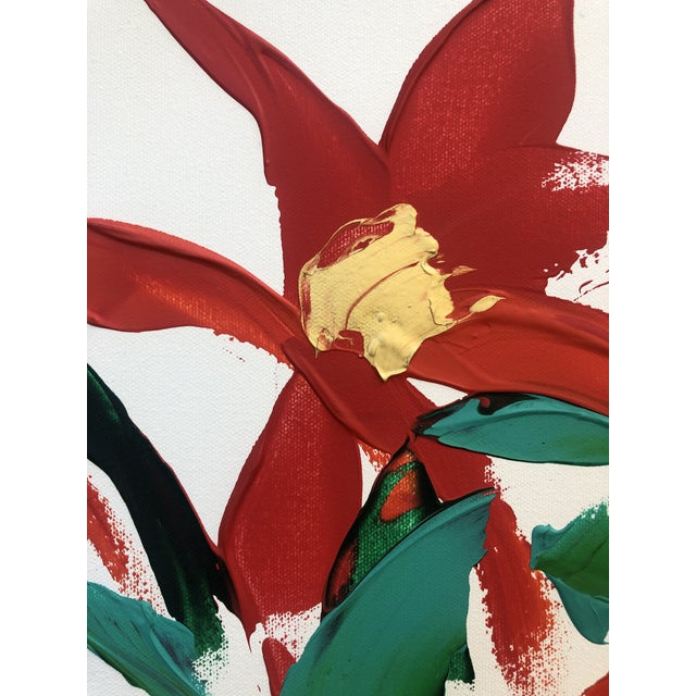 Acrylic Paint 1980s Barbara De Sassure Floral Still Life Painting For Sale - Image 7 of 12