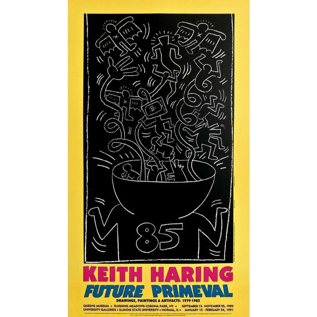(after) Keith Haring Future Primeval, 1990 Queens Museum Exhibition Poster 1990 For Sale