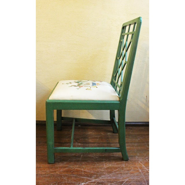 Chinese Chinese Chippendale Style Painted Chairs- A Pair For Sale - Image 3 of 8
