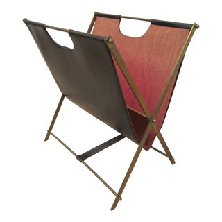 French Leather/Brass Magazine Rack Circa 1950 For Sale