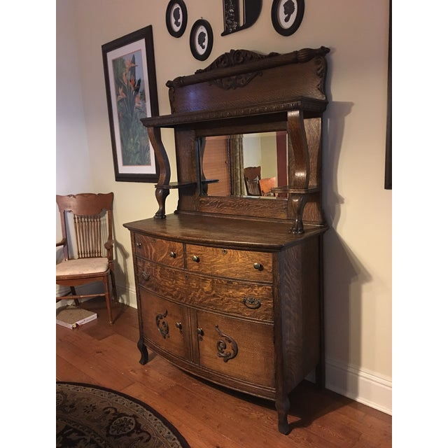 Antique Tiger Oak Sideboard Amp Mirrored Hutch Chairish