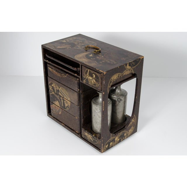 Asian Japanese Lacquer Picnic Set Box For Sale - Image 3 of 9