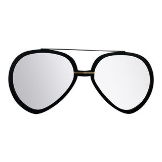 Vintage Aviator Sunglasses Mirror in Black Matte Frame For Sale