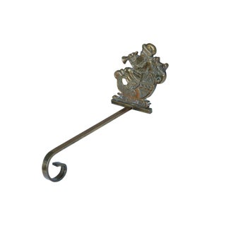 Brass Santa Christmas Stocking Hanger For Sale
