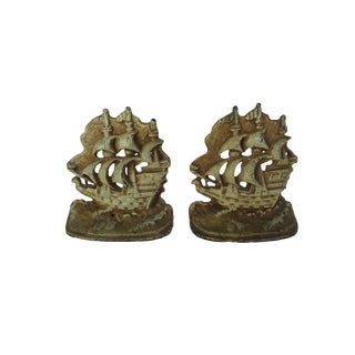 Vintage Cast Iron Ship Sailboat Bookends For Sale