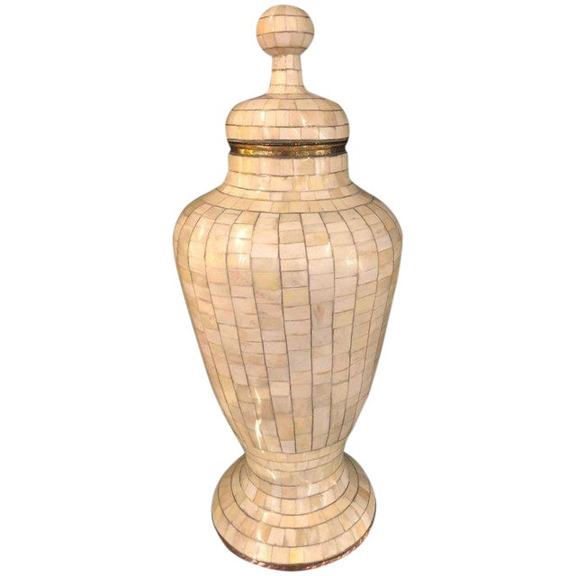 Beautiful Antique Natural Bone Over Brass Urn For Sale