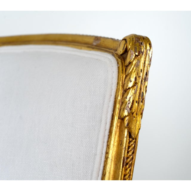 French Antique French Louis XV Style Gilded Accent Chairs- a Pair For Sale - Image 3 of 7