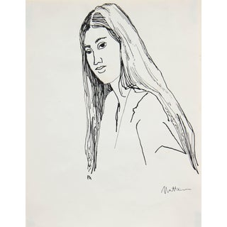 Rip Matteson Portrait of Woman With Long Hair Ink Drawing on Paper, 20th Century For Sale