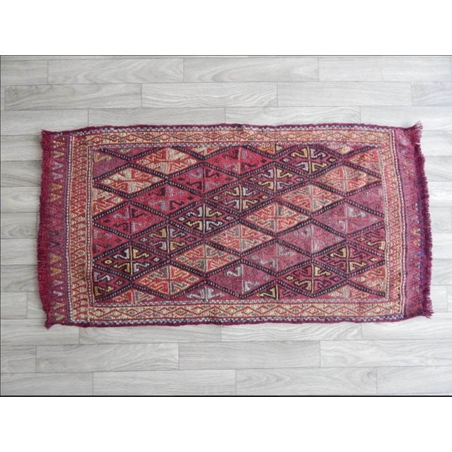 Ruby Red Masterwork Hand-Woven Rug Braided Small Kilim 1′6″ × 2′12″ For Sale - Image 8 of 8