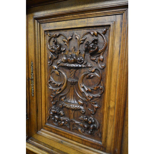 Antique 1800's Carved Walnut Pantry Cabinet For Sale - Image 5 of 11