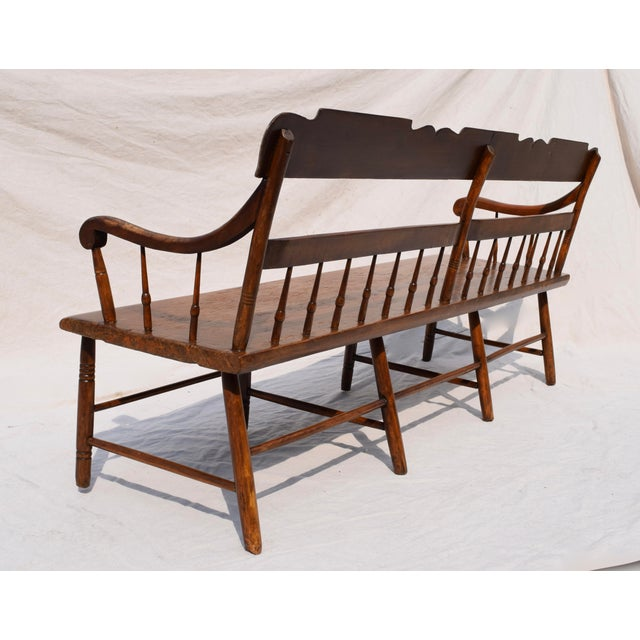 Linen Pennsylvania Plank Half Spindle Bench For Sale - Image 7 of 12
