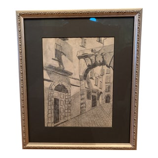 Framed Italian Pencil Drawing For Sale