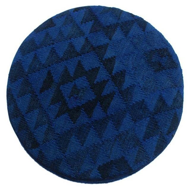 Arshs Deandre Blue/Drk. Blue Kilim Upholstered Handmade Ottoman For Sale - Image 4 of 8