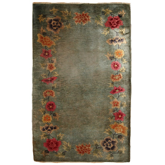 "Antique Art Deco Chinese Handmade Rug - 2'10"" x 4'6"" - Image 1 of 6"