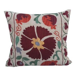 Antique Embroidered Floral & Pomagranage Suzani Pillow For Sale