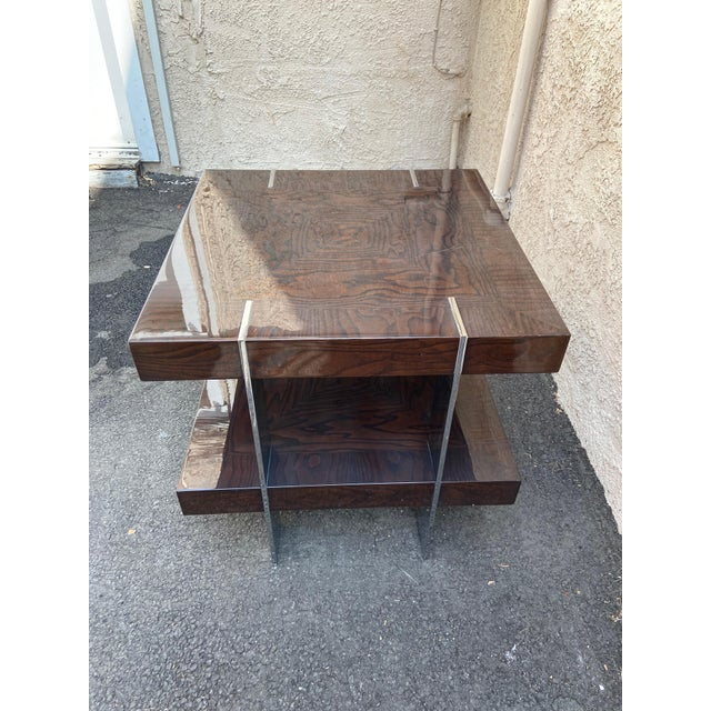 Contemporary Two-Tier Wood Lacquer and Chrome Table For Sale - Image 10 of 10