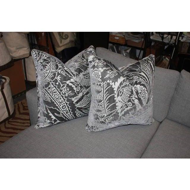 Charcoal Silk/Velvet Pillows - Set of 4 - Image 4 of 6