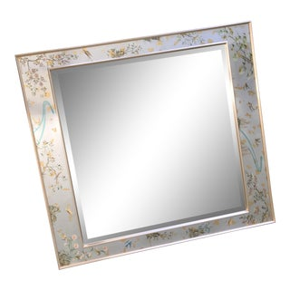 1985 Vintage La Barge Chinoiserie Reverse Painted Beveled Wall Mirror For Sale