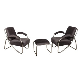Anton Lorenz Thonet Tubular Steel Lounge Chairs and Ottoman- 3 Pieces For Sale