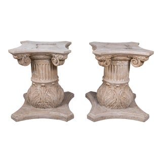 Pair of Neoclassical Travertine Table Bases For Sale