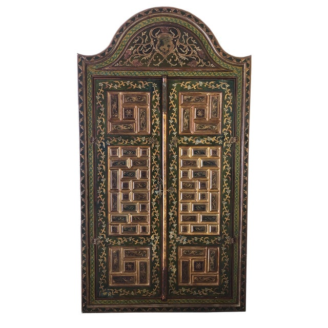 1940s Vintage Hand-Painted Ottoman Style Wood Panel / Door For Sale