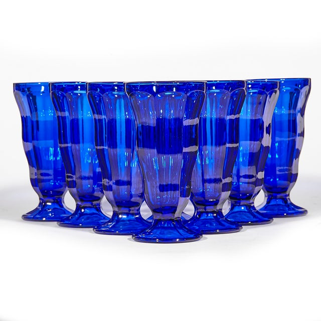 1970s Cobalt Tall Parfait Stems, Set of 8 For Sale - Image 5 of 5