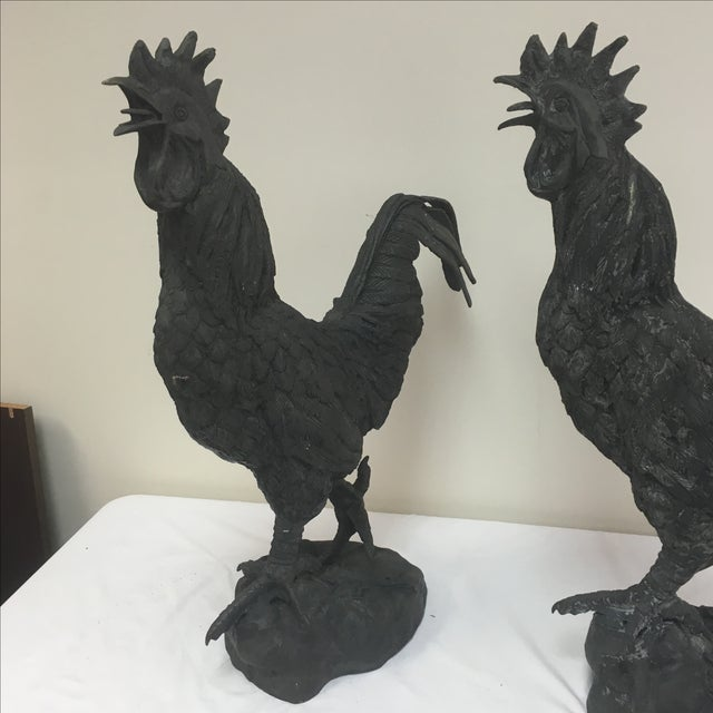 Vintage Iron Rooster Garden Ornaments - A Pair - Image 8 of 8