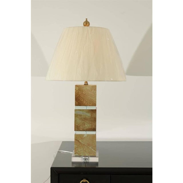 Restored Pair of Modern Lamps in Jade and Crystal For Sale - Image 9 of 10
