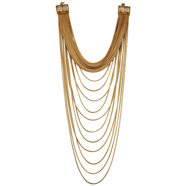 Contemporary Goossens Paris Origines Gilded Brass and Rock Crystal Multi Chain Necklace For Sale - Image 3 of 5