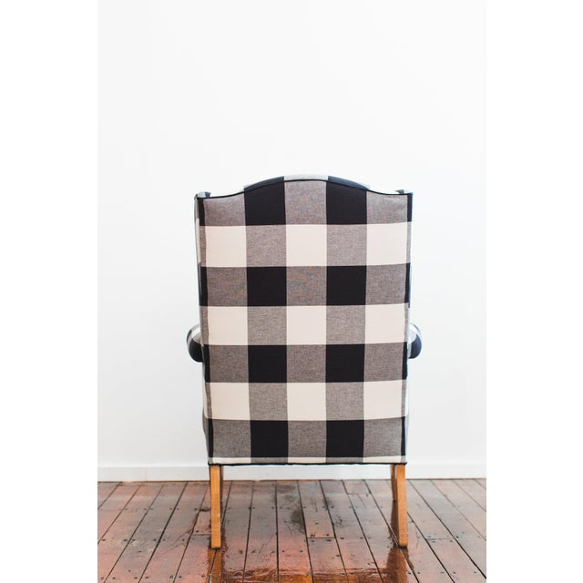 Black & White Buffalo Check Wingback Chair For Sale - Image 4 of 4