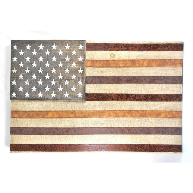 Large Rustic Wood & Leather American Flag Wall Art - Image 6 of 9