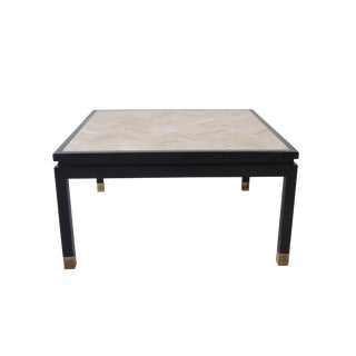 Square White Travertine Coffee Table With Herringbone Design For Sale