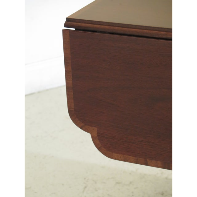 1990s Federal Drop Leaf Mahogany Duncan Phyfe Large 1 Drawer Occasional Table For Sale - Image 4 of 12