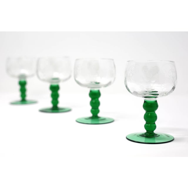 1960s Mid-Century Cordial Glasses With Etched Grapes and Leaves - Set of 4 For Sale - Image 5 of 12