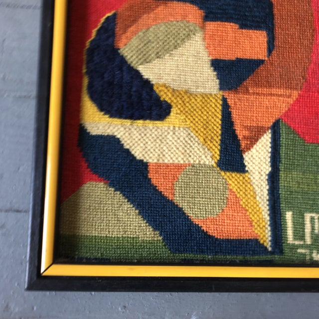 Original Vintage Hand Done Abstract Needlepoint 1974 Custom Frame For Sale - Image 4 of 6