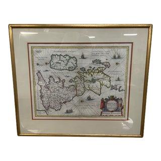 C.1650 Peter Van Den Keere Engraving of British Isles, Framed For Sale