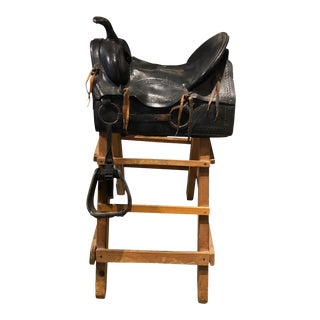 20th Century Tooled Leather Saddle and Rustic Wood Stand For Sale