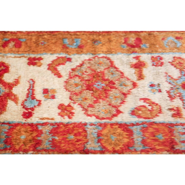 Antique Turkish Angora Oushak Light Blue Open Field Rug - 10′3″ × 12′9″ For Sale In New York - Image 6 of 11