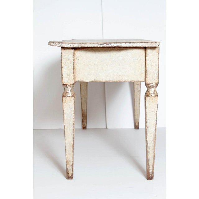 Wood Pair of French Painted and Gilt Console Tables For Sale - Image 7 of 9