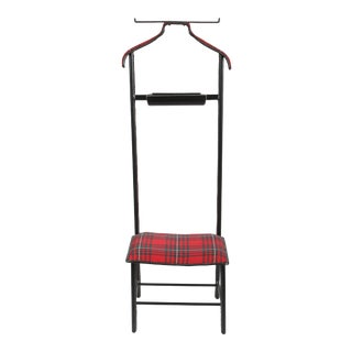 Jacques Adnet Leather Wrapped Valet With Original Tartan Plaid Wool Upholstery For Sale