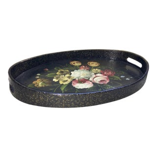 Papier Mache and Wood Floral Painted Tray For Sale
