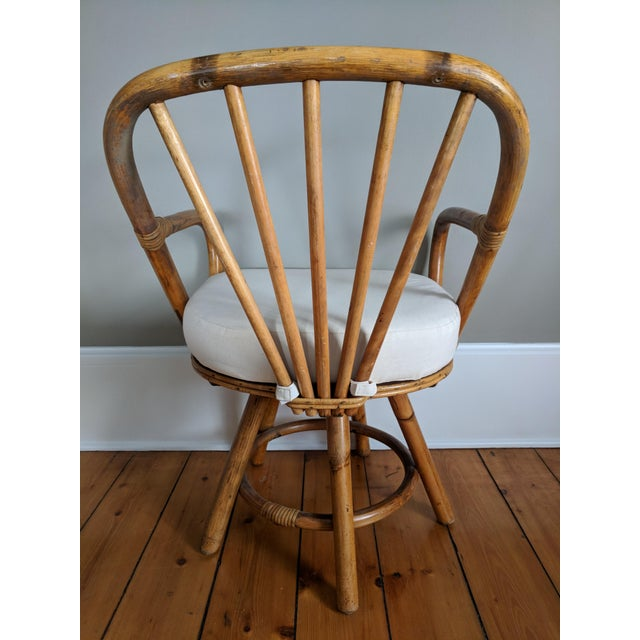 Swivel Bamboo Armchairs - Set of 4 For Sale - Image 4 of 13